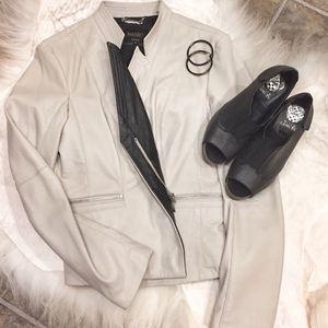 Laundry by Shelli Segal Cream Leather Jacket